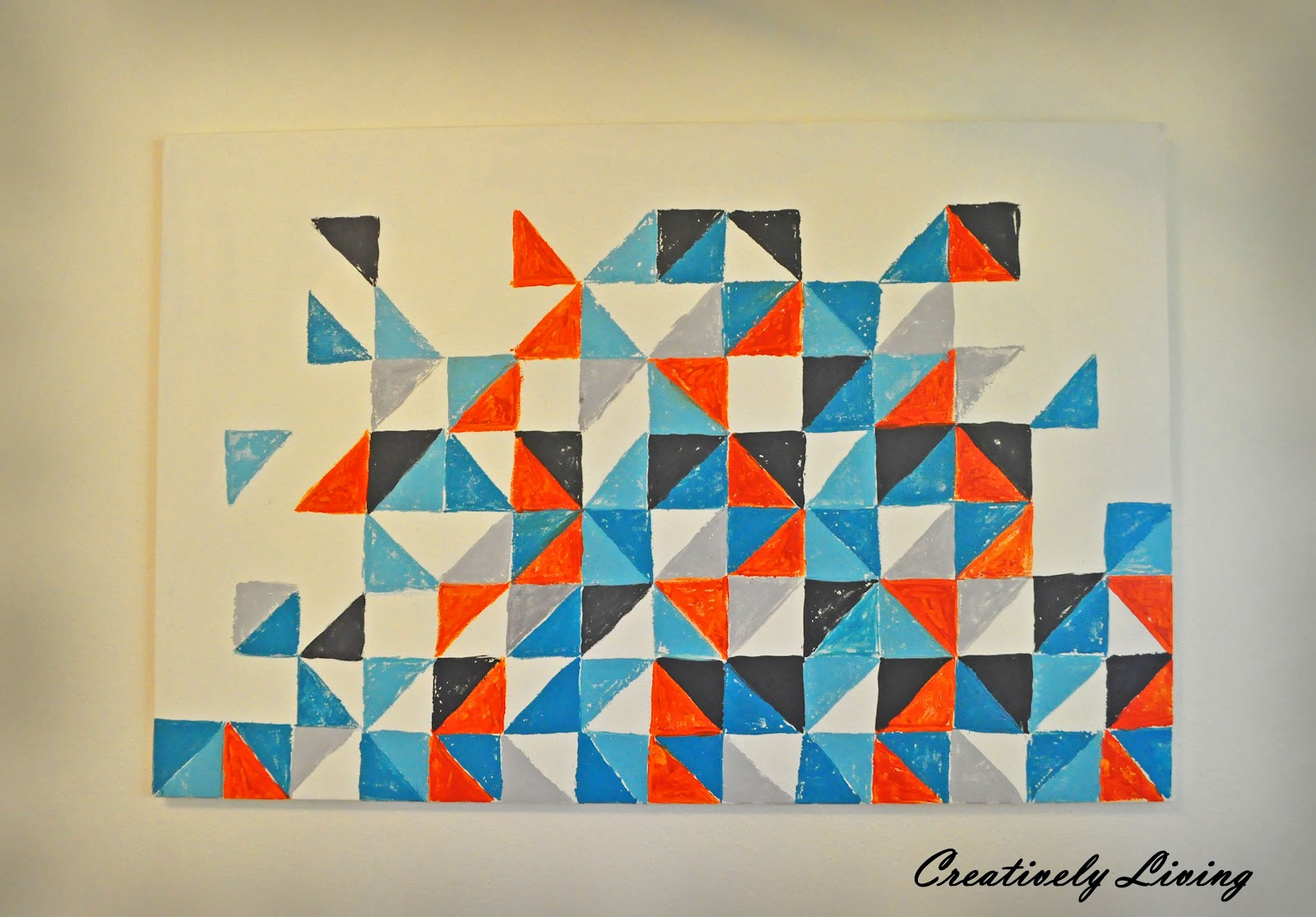 Geometric Design Wall Art : Square and triangle geometric art cypresstextiles